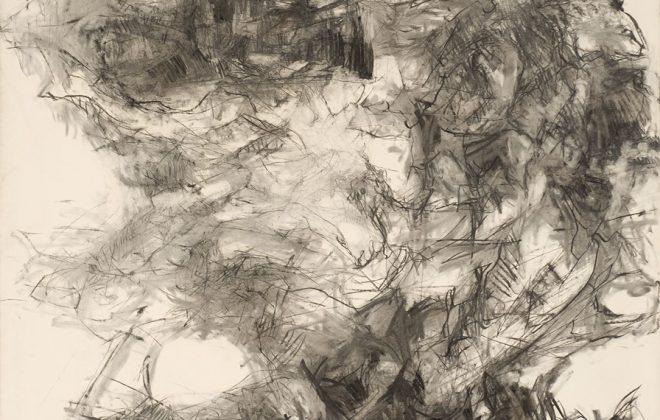 """Patrick Guillamet (1959) """" Glissement """", 1990 Fusain sur papier, 200 x 215 cm, inv. 1275"""