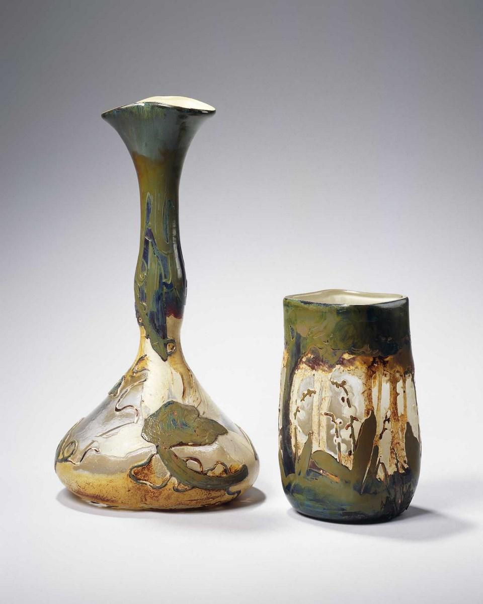 Vase soliflore et petit vase carré « aux muguets »