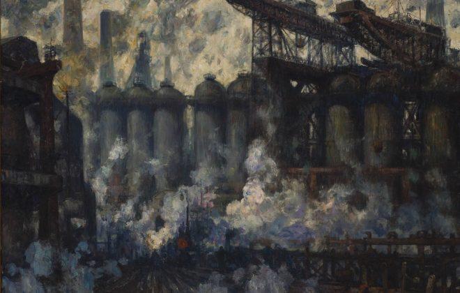 Pierre Paulus, L'usine métallurgique du Hainaut à Couillet, s.d.. huile sur toile, 150X200cm, inv. 04020019 - Sabam Belgium