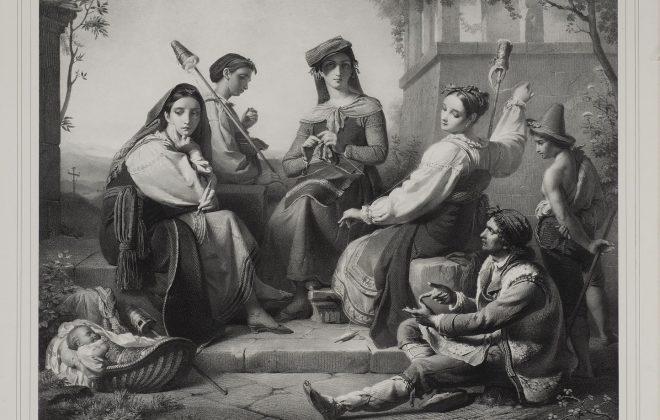 François-Joseph Navez, Les fileuses de Fundi, lithographie, s.d.