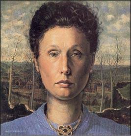 Gilberte Dumont, Autoportrait, 1949 Huile sur panneau, 30 x 29 cm mba. 375