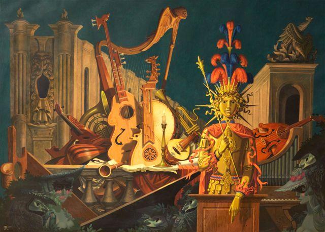 Jean Ransy, Concert pour les ombres (1971) - Huile sur toile, 140 x 190 cm - Inv. 548