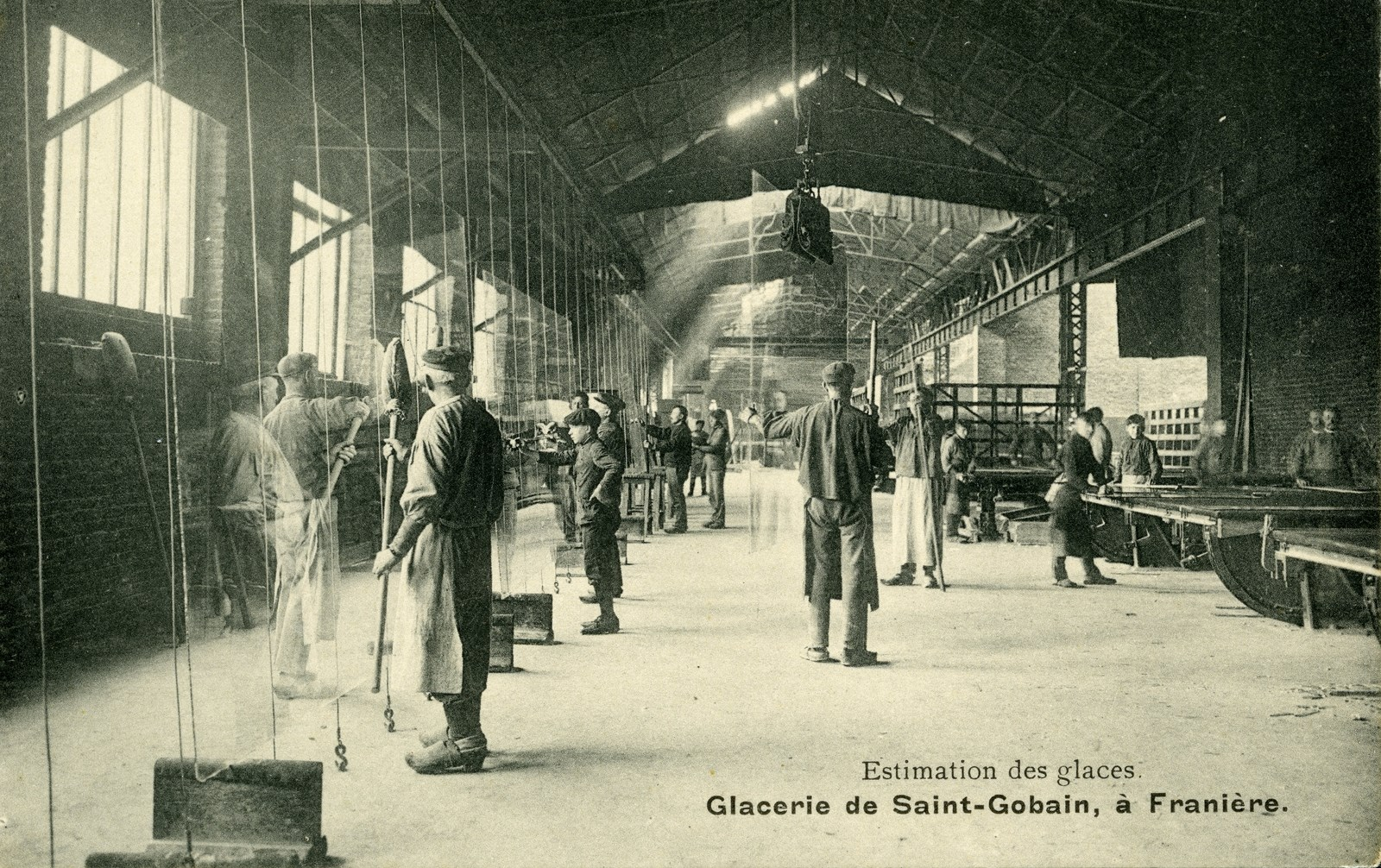 Estimation des glaces- Glaceries de St Gobain, à Franière, vers 1930